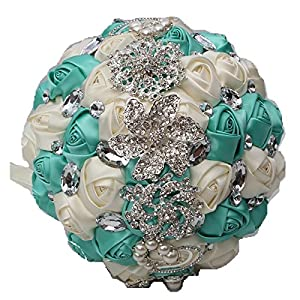 KUKI SHOP Handmade Romantic Diamond Pearls Rhinestones Brooch Bridal Artificial Wedding Bouquet of Flower Rose for Bride Party Decoration