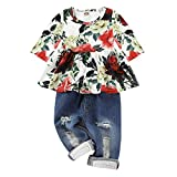 CARETOO Girls Clothes Outfits, Cute Baby Girl Floral Long Sleeve Pant Set Flower Ruffle Top Green