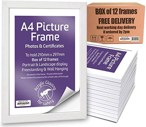 Marco de fotos tamaño A4, caja de 12 unidades, metacrilato frontal, marco de fotos y certificados, de pie y para colgar en la pared, vertical y horizontal, 29,7 x 21 cm