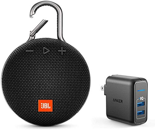 JBL Clip 3 Portable Bluetooth Wireless Speaker Bundle with Dual Port 24W USB Travel Wall Charger - Black