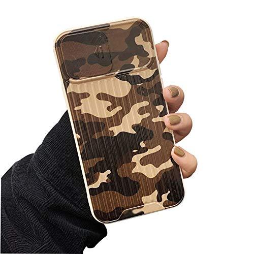 FOURTOC Funda Camuflaje para iPhone 11/11 Pro/11 Pro MAX con Protección de Lente de Ventana Deslizante Anti Arañazos Prueba de Golpes Suave TPU Carcasa Silicona,Negro,8 Plus/7 Plus
