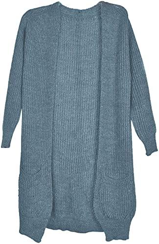 styleBREAKER Damen Grobstrick Cardigan mit aufgesetzten Taschen, Strickjacke ohne Verschluss, Strickmantel, OneSize 08010064, Farbe:Taubenblau