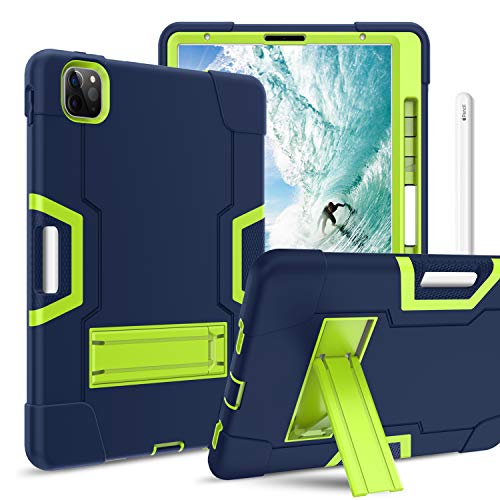BENTOBEN iPad Air 4th Generation Case, iPad Pro 11 Case, Kickstand 3 Layers Heavy Duty Rugged Shockproof Protective Tablet Case Cover for iPad Air 4/ iPad Pro 11 2020/2018, Navy Blue/Green