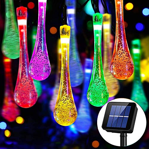 Solar String Lights Outdoor, 30 LED 6M/20Ft Raindrop Solar Powered Fairy Lights Waterproof 8 Modes Multicolour Festival Decorative Lighting for Garden Patio Home Fences Party Yard[Energy Class A+++]