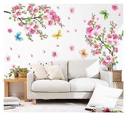 Zxebhsm Wandaufkleber 3D Rosa Abnehmbare Pfirsich Pflaume Kirsche Blossom Blume Schmetterling Vinyl Kunst Aufkleber Wand Hause Aufkleber Room Decor (Farbe : M19158)