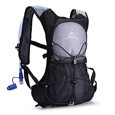 S.K.L Hydration Pack - Hydration Backpack with 2 Liter Water Bladder - Lightweight Water Backpack for Running Hiking Cycling Biking Climbing Camping (Gray)