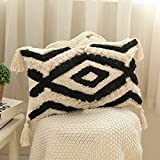 Kiuree 12x20Inch Boho Lumbar Pillow Covers, Decorative Pillow Coverswith Tassels Woven Tufted Bohemian Throw Pillow Covers for Couch Sofa Bedroom Living Room (Black)