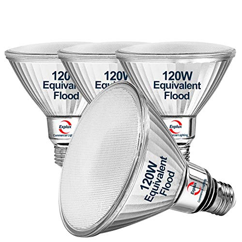 Explux Classic Full Glass PAR38 LED Flood Light Bulbs, 120W Equivalent, Indoor & Outdoor, Weatherproof & Anti-Ageing, Dimmable, 5000K Daylight, 4-Pack