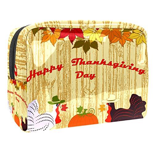 Bolsa de cosméticos para Mujeres Día de Acción de Gracias Día de Turquía Hoja de otoño Bolsas de Maquillaje espaciosas Neceser de Viaje Organizador de Accesorios
