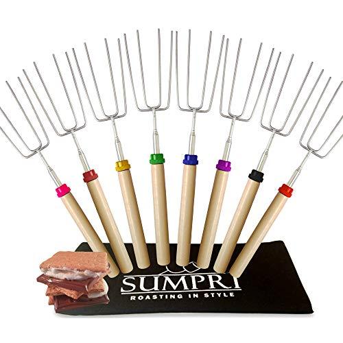 SUMPRI - Juego de 8 palos de asar de malvaviscos (mango telescópico, horquilla extensible de acero para perros calientes, hoguera, chimenea, accesorios para acampada, multicolor