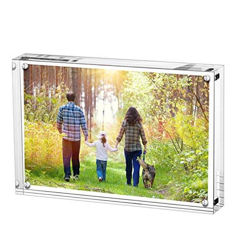 Boxalls Bilderrahmen 10 x 15 cm(4 x 6 inch), Acryl Magnetischer Fotorahmen, Doppelseitiges Rahmenloser Rahmen, Klares, für den Desktop