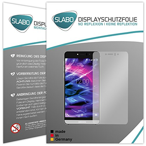 Slabo 2 x Bildschirmfolie für Medion Life X5004 (MD 99238) Bildschirmschutzfolie Zubehör No Reflexion MATT - Made IN Germany