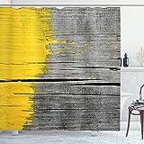 ABAKUHAUS Gelb Duschvorhang, Vintage Holzbrett, Digital auf Stoff Bedruckt inkl.12 Haken Farbfest Wasser Bakterie Resistent, 175 x 180 cm, Gelb Grau