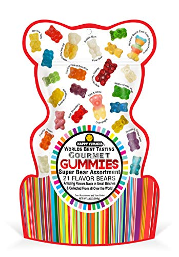 Happy Yummies Worlds Best Tasting Gourmet Gummy Candy 21 Flavor Super Bear Assortment 14oz (1 Pack)