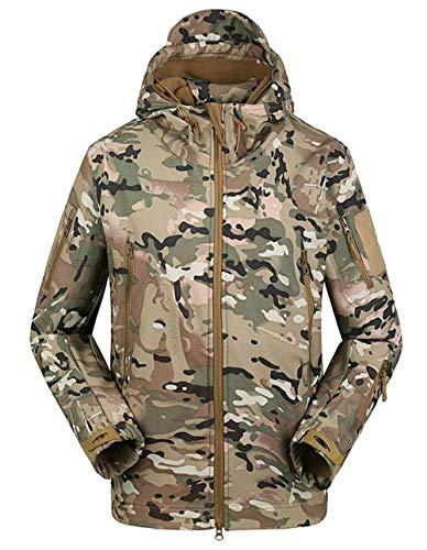 BININBOX Herren Taktische Softshell Jacke Fleecejacke Männer Military Jacke Wanderjacke Outdoor Winterjacke für Camping Jagd (XL (Tag 2XL), CP)