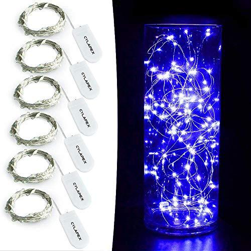 FLAIGO - Juego de 6 mini luces azules de hadas con pilas, luces de luciérnaga LED estrelladas en alambre de cobre plateado de 1 m para decoración de Navidad, disfraz de boda (azul)