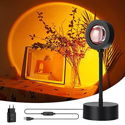 Wonantorna Sunset Lamp, Sunset Projection Lamp, Luz Nocturna LED, Lámpara de Pie Salón, Lámpara Decorativa, SE Puede Girar 360°, Adecuada para Dormitorio, Salón - Atardecer