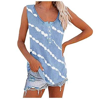 Amazon - Save 70%: Jesaisque Womens Tie Dye Tank Tops Sleeveless Scoop Neck Henley Shirt Summer…