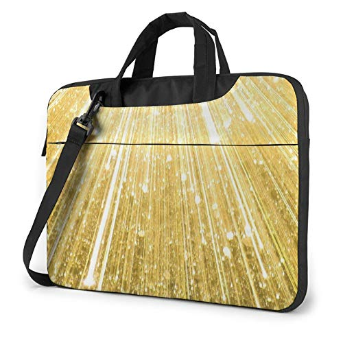 Laptop Case, Gold Bling Print Laptop Shoulder Bags Multi-Functional Notebook Sleeve,13-14-15.6 Inch