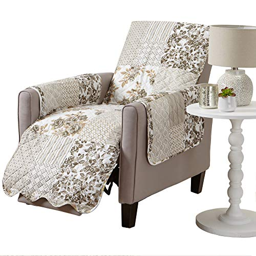 Patchwork Scalloped Printed Furniture Protector. Stain Resistant Recliner Cover. (Recliner, Taupe)