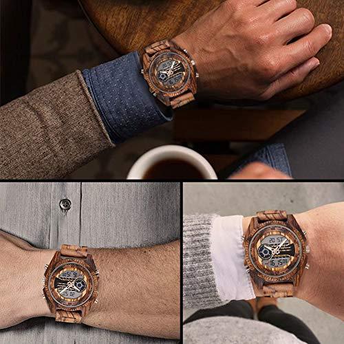 木製腕時計,shifenmeiS2139天然木軽量男性腕時計メンズウッドウォッチ電子時計日付/夜光表示木の時計入学祝就職祝お誕生日贈り物木箱の包装(かっしょく)