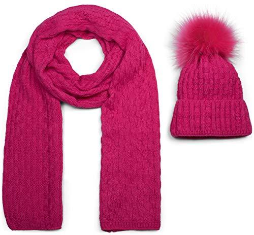 styleBREAKER Unisex Strick Schal und Mütze Set mit Flecht Muster, Thermo-Fleece Innenfutter, Winter 01018212, Farbe:Pink