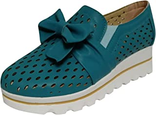 Snowmolle Womens Casual Breathable Wedges Loafers Bowknot Hollow Out Walking Shoes Beach Casual Platform Sandals