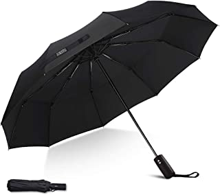 Umbrella,JUKSTG 10 Ribs Auto Open/Close Windproof Umbrella, Waterproof Travel Umbrella,Portable Umbrellas,Black