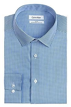 Calvin Klein Men s Dress Shirt Slim Fit Non Iron Gingham Blue 15.5  Neck 34 -35  Sleeve  Medium