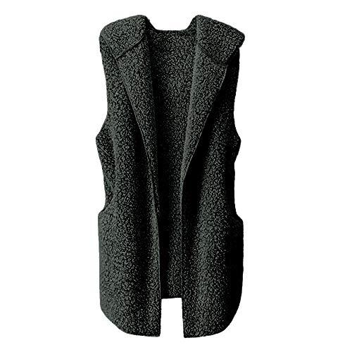 haoricu Womens Puffer Vest Winter Warm Plush Hoodie Outwear Casual Coat Faux Fur Tank Holiday Casual Gown Black