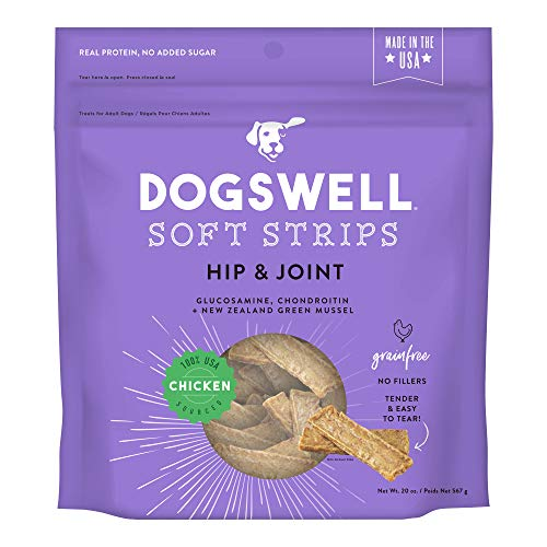 DOGSWELL Hip & Joint Dog Treats 100% Meaty, Grain Free, Glucosamine Chondroitin & Omega 3, Chicken Soft Strips 20 oz
