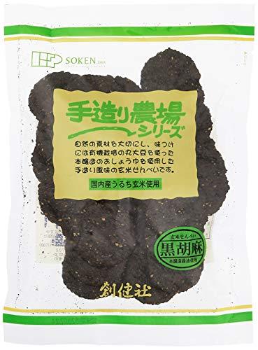 創健社 手造り農場黒胡麻玄米せん 煎餅 100g ×2個