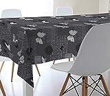Mantel de Hule 100% PVC con Base de algodón. Estampado Mariposas. Colores Gris, Blanco y Negro (140_x_100_cm)