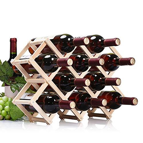 GGQQ JYWT AYSMG 10 Botellas Estantes Estante de exhibición de la Barra de la Cocina del Tenedor del Vino de Madera del Soporte del Vino Plegable (hornada del Carbono) (Color : Wood)