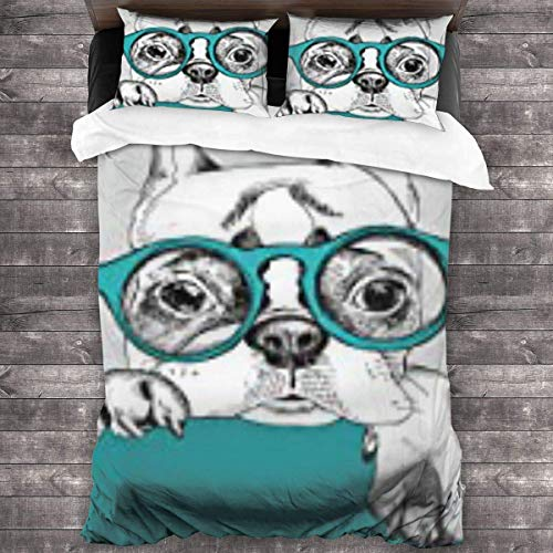 Biooker 3 Pieces Bedding Sets, Size 86x70 Inch,2 Pieces Pillowcase 20x30 Inch,100% Microfiber Dog Portrait of French Bulldog in Glasses Hand Drawn Pet Sunglasses