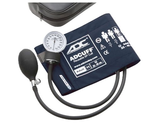 ADC Prosphyg 760 Pocket Aneroid Sphygmomanometer with Adcuff Nylon Blood Pressure Cuff, Adult, Navy