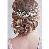 Unicra Wedding Flower Épingles À Cheveux De Mariée Coiffures Pièces De Cheveux De Mariage Accessoires de mariée (Lot de 3) (argent)