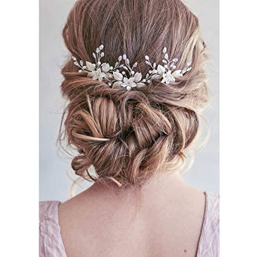 Unicra Silberhochzeit Blume Haarnadeln Braut Kopfschmuck Hochzeit Haarteile Zubehör für die Braut (3er Pack) (Silber)