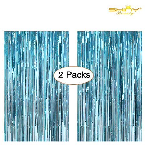 ShiDianYi Metallic Foil Fringe-Backdrops-Turquoise-6FTX8FT Tinsel Party/Window/Door Decorative Aqua Blue Fringe Curtains (Pack of 2) (Turquoise)