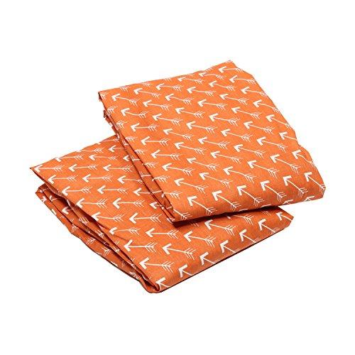 Bacati - Playful Fox Orange/grey 2 Pack Crib Fitted Sheets (Orange Arrows Print)