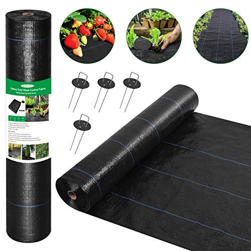 Wokkol Gartenvlies, 2M x 48M Rolle Unkrautvlies, Anti Unkrautvlies, Reißfestes Unkrautfolie Wasserdurchlässig, 100g/m² Hohe UV-Stabilisierung Unterbodengewebe (4 Erdanker, 4 Pufferwaschanlagen