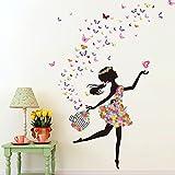 Wallpark Romantique Dansant Fille Fleur Fée Papillon Amovible Stickers Muraux...