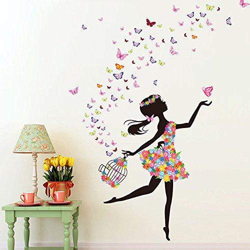 Wallpark Romantisch Tanzen Mädchen Blume Fee Schmetterling Abnehmbare Wandsticker Wandtattoo, Kinder Kids Baby Hause Zimmer Kinderzimmer DIY Dekorativ Klebstoff Kunst Wandaufkleber