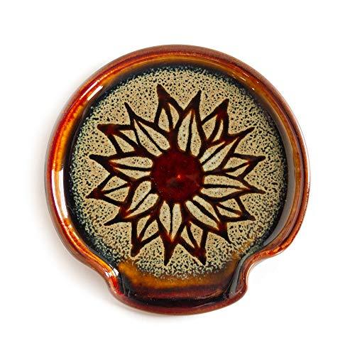 Georgetown Pottery Spoon Rest Hamada Sunflower, Handmade, Made in USA, Ceramic