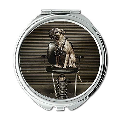 Yanteng Spiegel, Schminkspiegel, Tier Hund Katze Pitbull Hund, Taschenspiegel, 1 X 2X Lupe