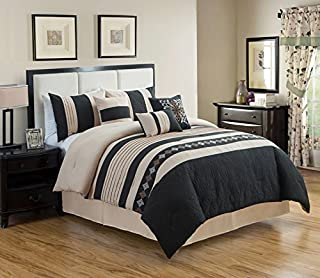 JBFF 7 Piece Luxury Embroidery Bed in Bag Microfiber Comforter Set (Black, King)