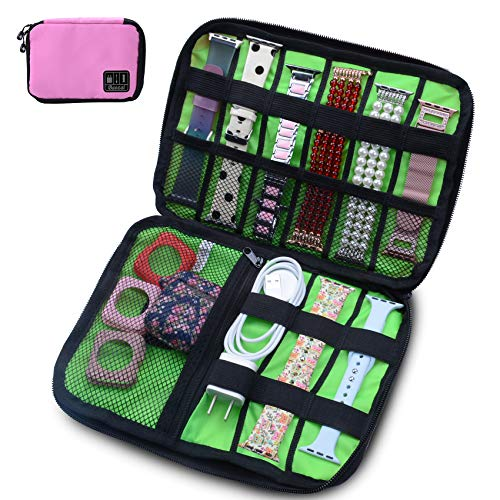 baozai Smart Watch Bands Organizer, Waterproof Portable Electronics Travel Accessories Organizer Bag for Watch Bands, Cable, Charger, Headset, SD Card, Pink