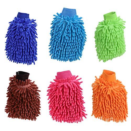 KEESIN Auto Wasch Handschuh, Ultraweiche Premium Mikrofaser Wasch Handschuhe für Die Auto und Haushaltsreinigung, 6er