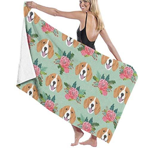 Beagle Florals Tela Rosa Perros y Florales 100% Poliéster Toalla de Playa Silla Gruesa Suave de Secado Rápido Ligero Absorbente Toalla Manta 32x52 pulgadas