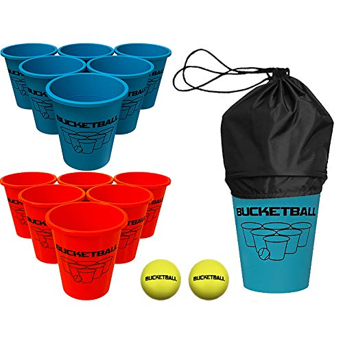 Bucket Ball - Beach Edition Starter Pack - Ultimate Beach, Poolside, Backyard, Camping, Tailgate, Outdoor Game - Includes 12 BucketBall Buckets, 2 Hybrid Balls, Tote Bag, Instructions